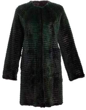 Julia & Stella Reversible Corduroy& Quilted Mink Fur Coat