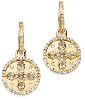 Kiki McDonough 18K Yellow Gold Jemima Lemon Quartz & Diamond Drop Earrings