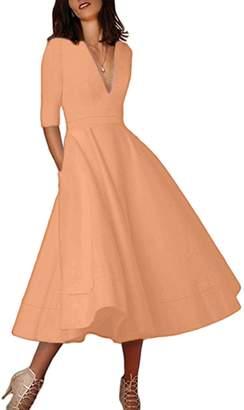 EFOFEI Womens Cocktail Dress 3/4 Sleeve Dress Elegant Vintage Dress