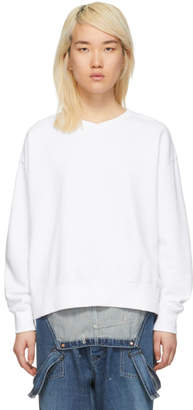Chimala ホワイト V ネック スウェットシャツ