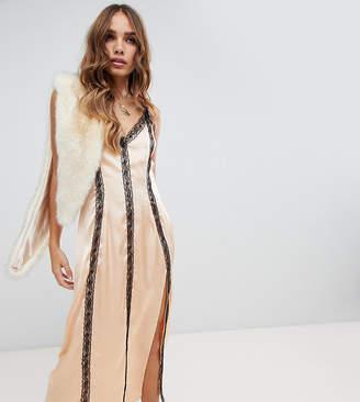 Dusty Daze satin midi dress with lace trim