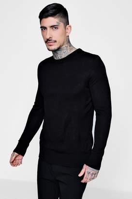 boohoo Black Crew Neck Fine Gauge Knitted Jumper
