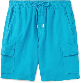 Vilebrequin Baie Wide-Leg Linen Drawstring Shorts - Men - Blue
