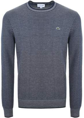Lacoste Crew Neck Striped Knit Jumper Navy
