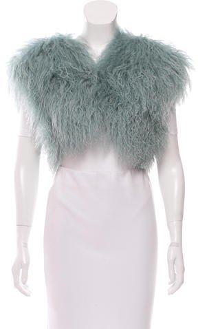 Adrienne LandauAdrienne Landau Mongolian Lamb Cropped Vest