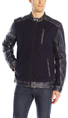 Lucky Brand Men's Cotton and Leather Jacket