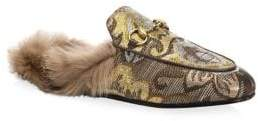 Gucci Women's Princetown Brocade Fur-Lined Slipper - Gold - Size 40.5 (10.5)