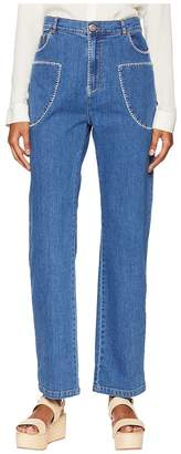 See by Chloe Bootcut Jeans with White Stitch in Shady Cobalt Women's Jeans