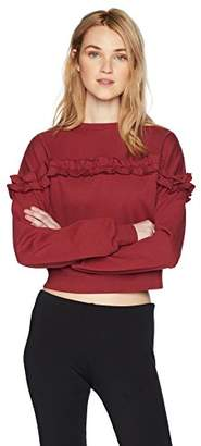 Hayden Rose Young Women's Teen Long Sleeve Round Neck Cropped Girly Ruffle Front Boxy Sweatshirt