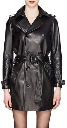 Saint Laurent Women's Leather Double-Breasted Trench Coat
