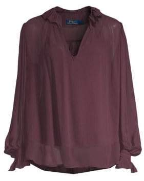 Polo Ralph Lauren Silk Ruffle Blouse