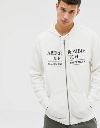Abercrombie & Fitch chest logo full zip hoodie in white