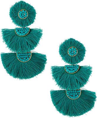 Panacea Stacked Fan Fringe Earrings, Green