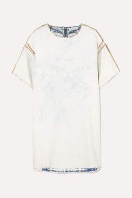 MM6 MAISON MARGIELA Distressed Printed Bleached Denim Mini Dress - Light denim