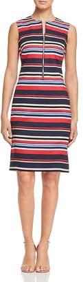 DKNY Striped Zip-Front Sheath Dress