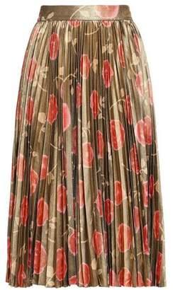 Kate Spade Run Wild Pleated Floral-print Satin Skirt