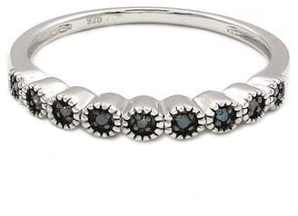 Black Diamond Savvy Cie Sterling Silver Blue Diamond Band Ring - 0.15 ctw