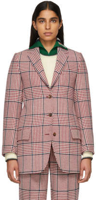 Gucci White and Red Plaid Blazer