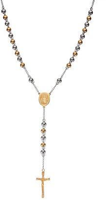 Two Tone Stainless Steel Beaded Rosary Necklace