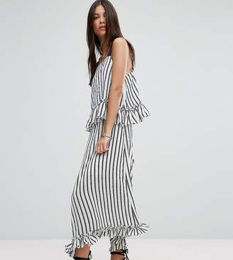 Asos Maxi Dress with Ruffle Detail & Grosgrain Straps in Mono Stripe