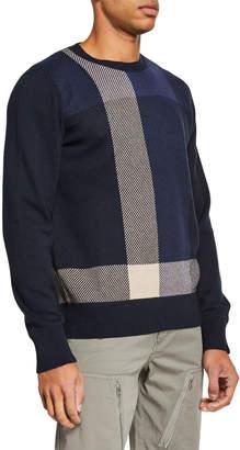 Rag & Bone Men's Marshall Cotton/Cashmere Plaid Crewneck Sweater