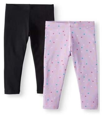 Wonder Nation Solid and Printed Tough Cotton Capri Leggings, 2-Pack (Little Girls & Big Girls)