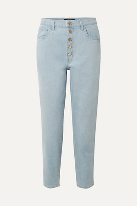 J Brand Heather Cropped High-rise Straight-leg Jeans - Light denim