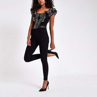 River Island Black floral lace frill detail crop top
