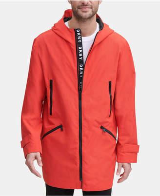 DKNY Men 3/4-Length Hooded Rain Coat