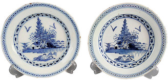 One Kings Lane Vintage 18th-C. English Delft Plates - Set of 2 - Faded Rose Antiques LLC