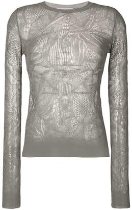 Christian Wijnants open weave round neck longsleeved knit top