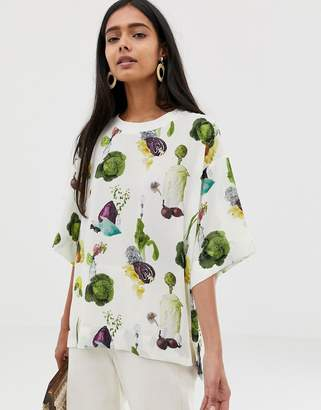 Weekday woven top with fruit plant print in white