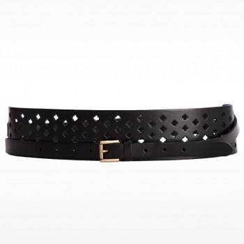 Linea Pelle Double Wrap Perforated Pattern Waist Belt