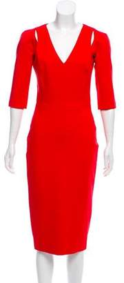 Victoria Beckham Three-Quarter Sleeve Midi Dress