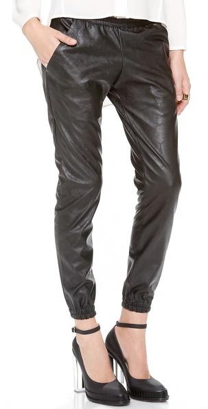 Faux Leather Sweatpants