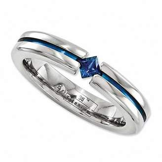 Zales Radiance by Edward Mirell 4.0mm Princess-Cut Blue Sapphire Anodized Titanium Wedding Band