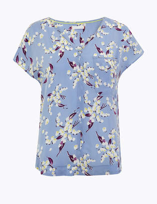 Marks and Spencer Cupro V Neck Floral Print Shell Top