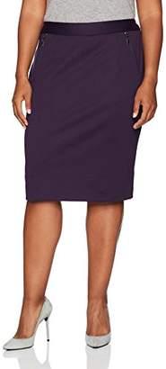 Kasper Women's Plus Size Ponte Skirt with Zipper Detailing