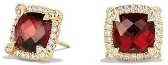 David Yurman Châtelaine Pavé Bezel Stud Earrings with Garnet and Diamonds in 18K Gold