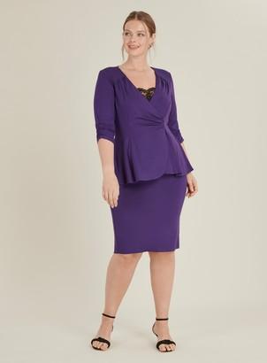 8e643de28ac4 Evans **Scarlett & Jo Purple Tuxedo Peplum Dress