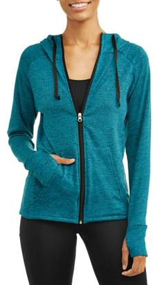 Cascade Blue Women's Core Active Tech Fleece Full Zip Hoodie with Thumbholes