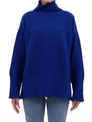 MSGM Blue Distressed Oversized Sweater