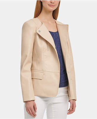DKNY Faux-Leather Collarless Blazer