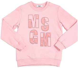 MSGM Logo Embroidered Cotton Sweatshirt