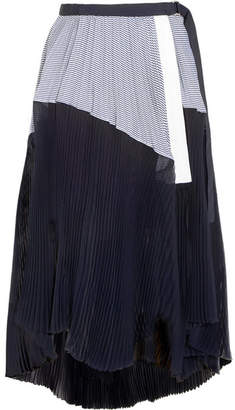 Asymmetric Pleated Striped Cotton And Chiffon Wrap Skirt - Storm blue