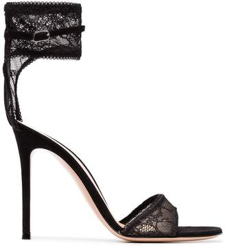 Gianvito Rossi black 105 lace ankle strap sandals