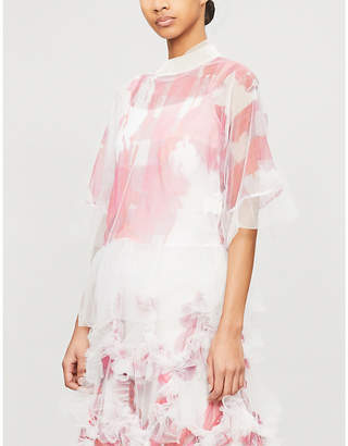 Roberts Wood Abstract-print tulle top