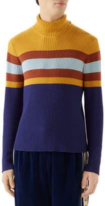 Gucci Men's Multi-Stripe Ribbed Turtleneck Sweater