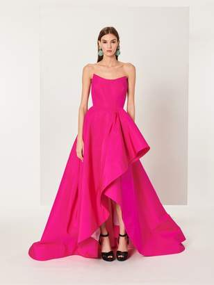 Oscar de la Renta Shocking Pink Draped Silk-Faille Gown