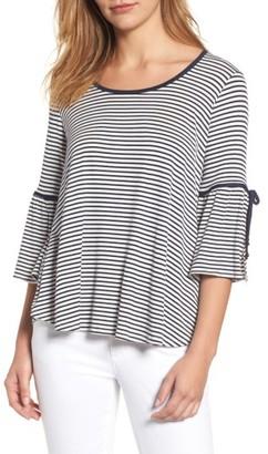 Women's Bobeau Stripe Bell Sleeve Tee $49 thestylecure.com